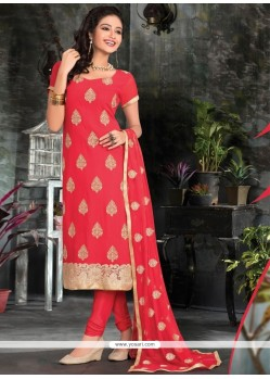 Amusing Viscose Lace Work Churidar Salwar Kameez