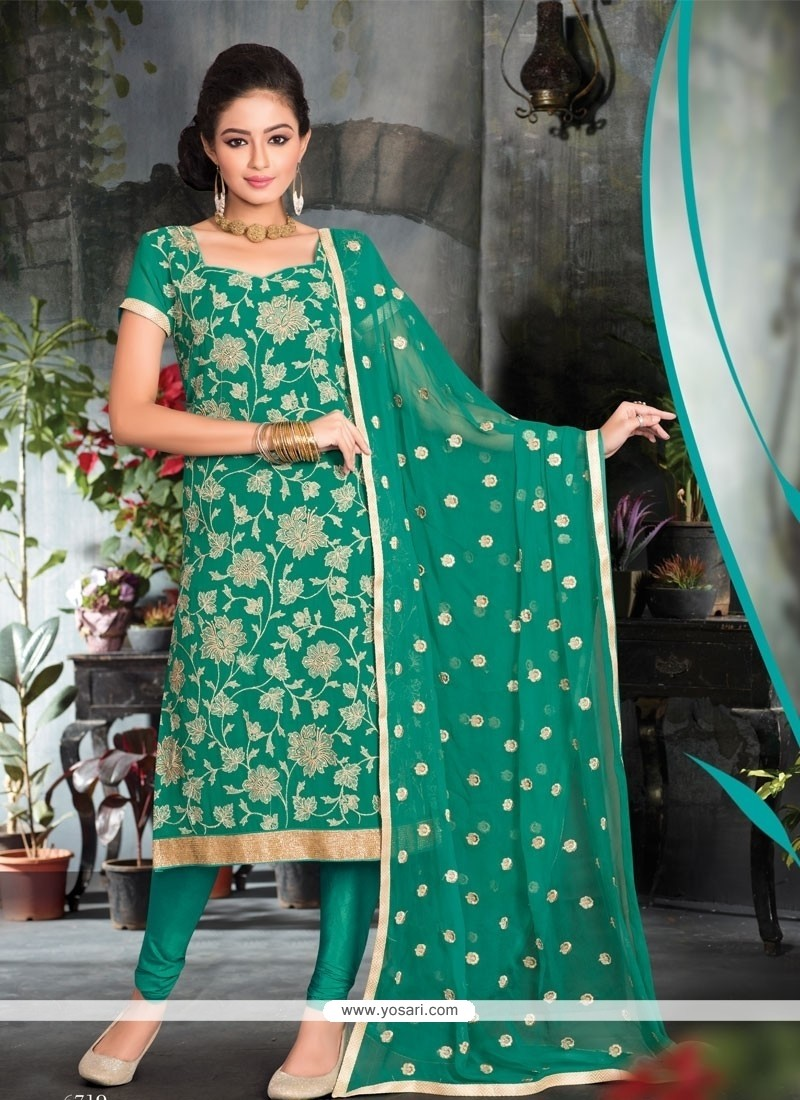 Prime Resham Work Viscose Churidar Salwar Suit