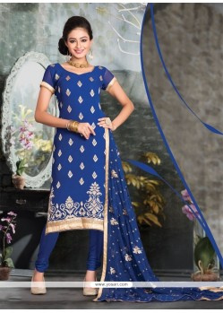 Regal Blue Resham Work Churidar Salwar Suit