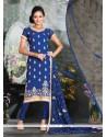 Regal Blue Resham Work Churidar Salwar Suit