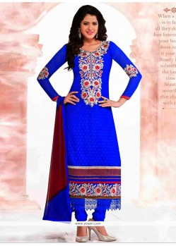 Epitome Blue Embroidery Work Churidar Suit
