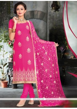 Fabulous Embroidered Work Viscose Pink Churidar Salwar Kameez
