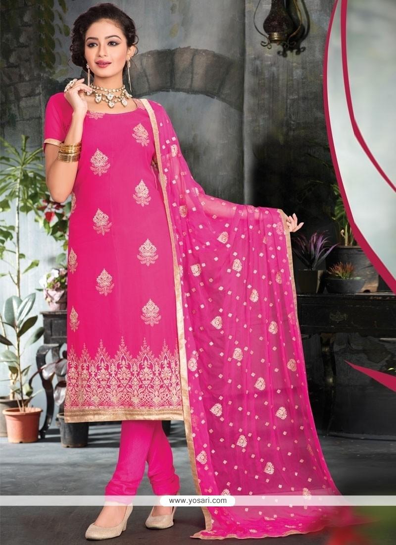 Fabulous Embroidered Work Viscose Pink Churidar Salwar Kameez