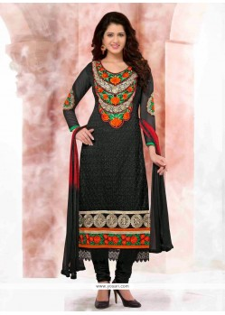 Deserving Black Georgette Churidar Suit