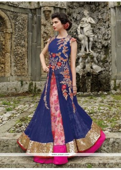 Tiptop Blue Digital Print Work Net A Line Lehenga Choli