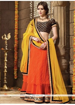 Beauteous Orange A Line Lehenga Choli