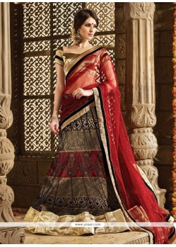 Artistic Embroidered Work Black Net A Line Lehenga Choli