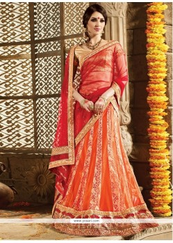 Delightful Net Embroidered Work A Line Lehenga Choli