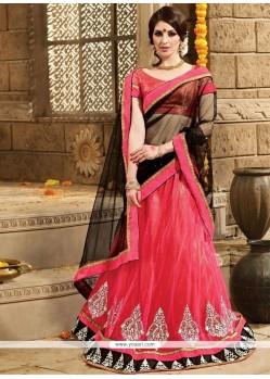 Transcendent Resham Work Hot Pink A Line Lehenga Choli