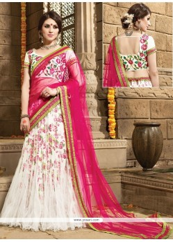 Pretty Net Off White A Line Lehenga Choli