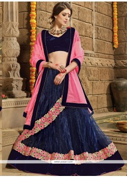 Mystical Embroidered Work Blue A Line Lehenga Choli