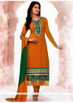 Decent Yellow Embroidery Work Churidar Suit