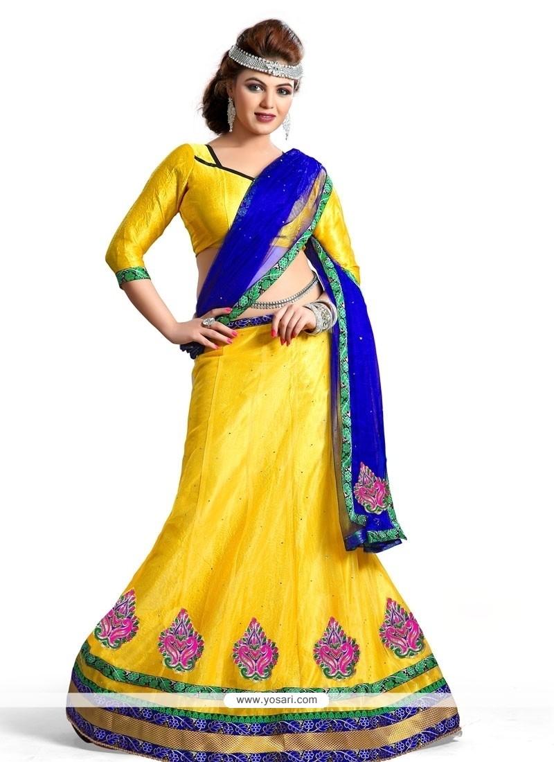 Marvelous Net Yellow A Line Lehenga Choli