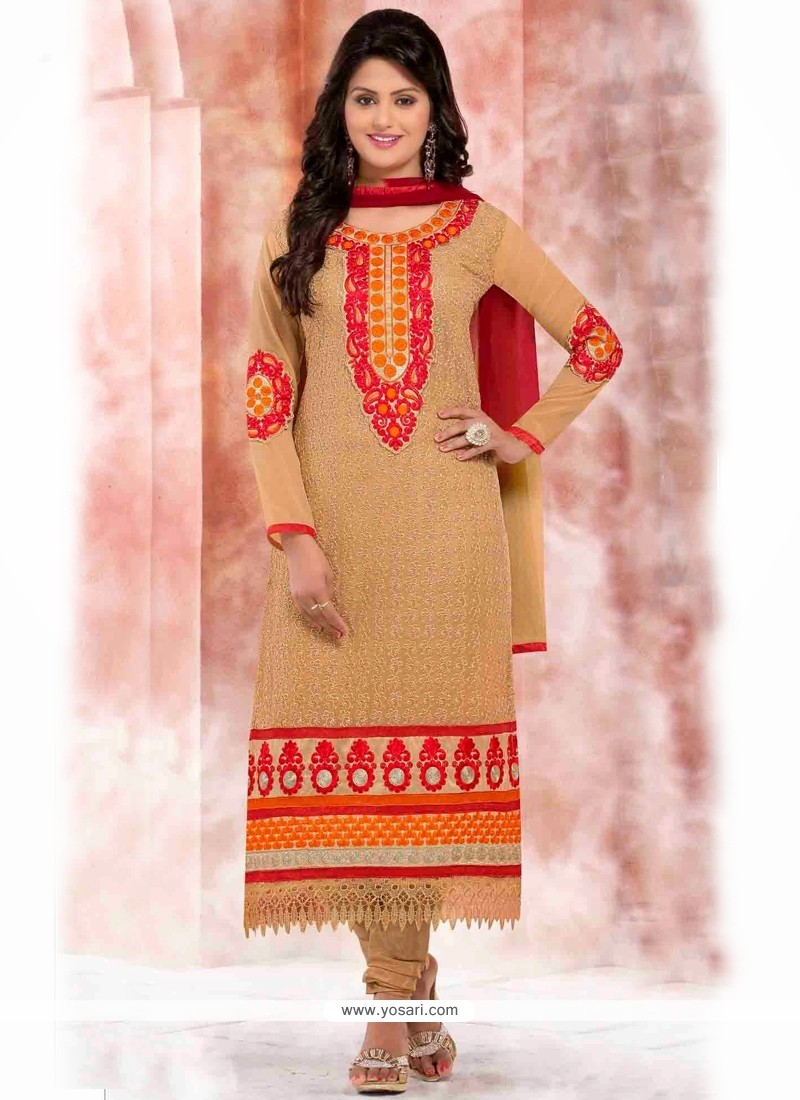 Competent Cream Georgette Churidar Suit