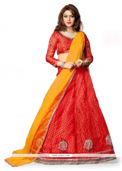 Unique Red Patch Border Work Net A Line Lehenga Choli