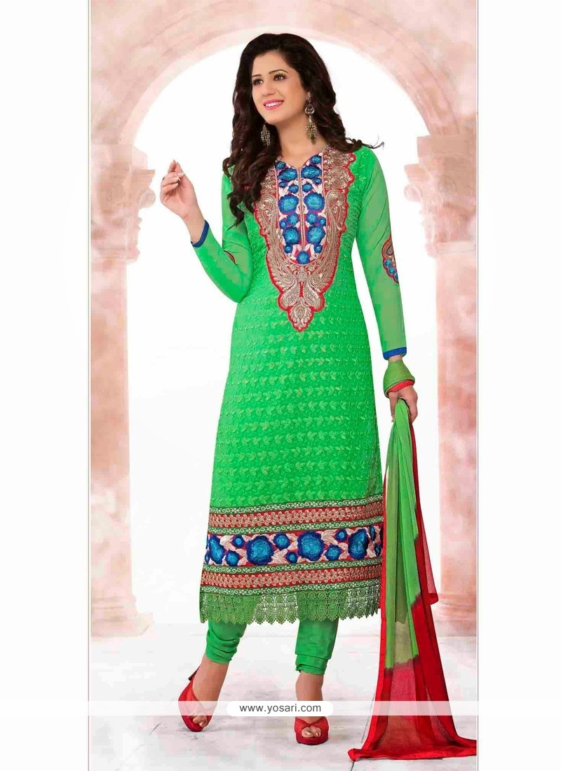 Charismatic Green Resham Work Churidar Salwar Suit