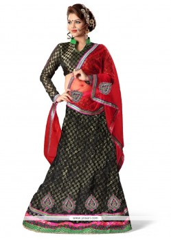 Riveting Net Lace Work A Line Lehenga Choli