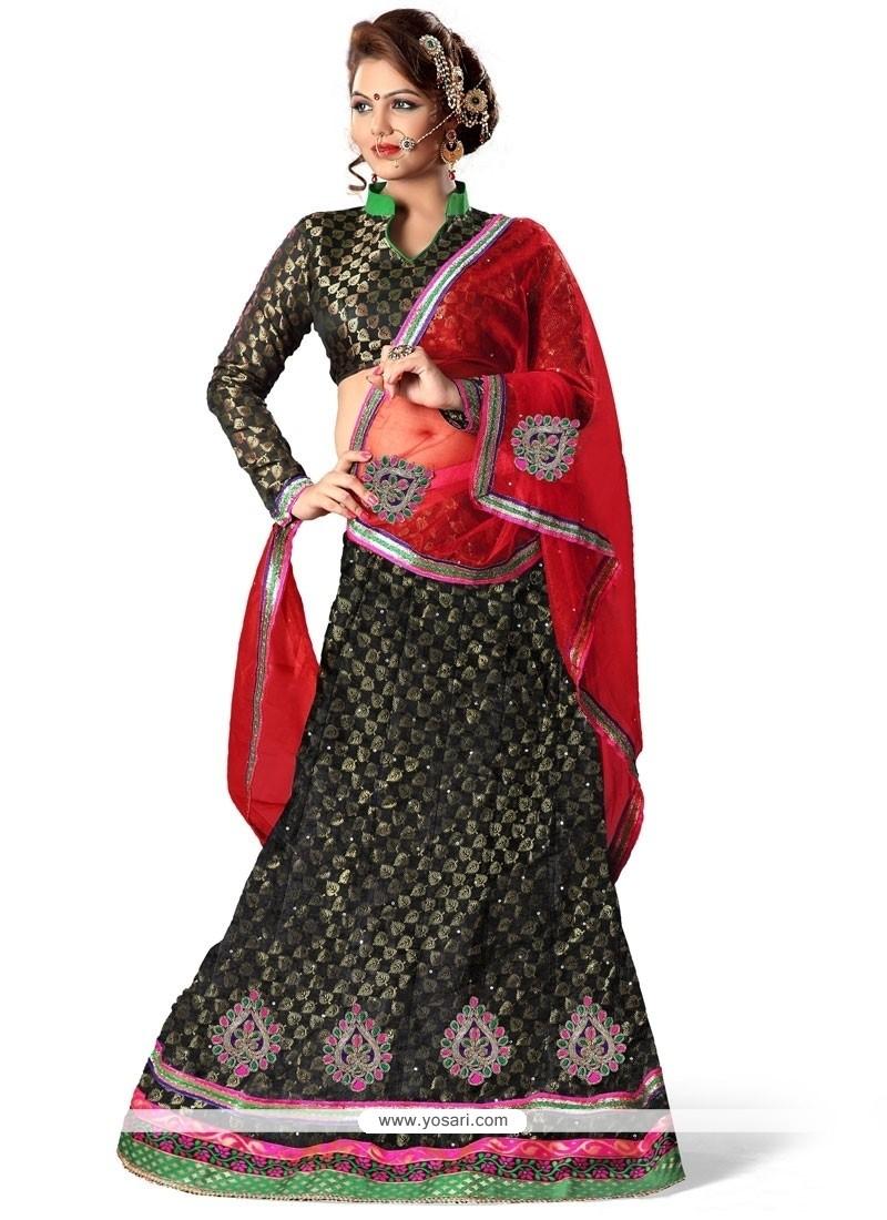 Riveting Net Lace Work A Line Lehenga Choli