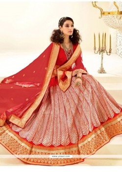 Stunning Faux Crepe Red Resham Work A Line Lehenga Choli