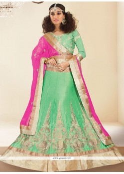 Princely Green Patch Border Work A Line Lehenga Choli