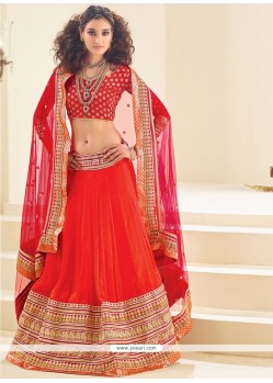 Pleasing Red A Line Lehenga Choli