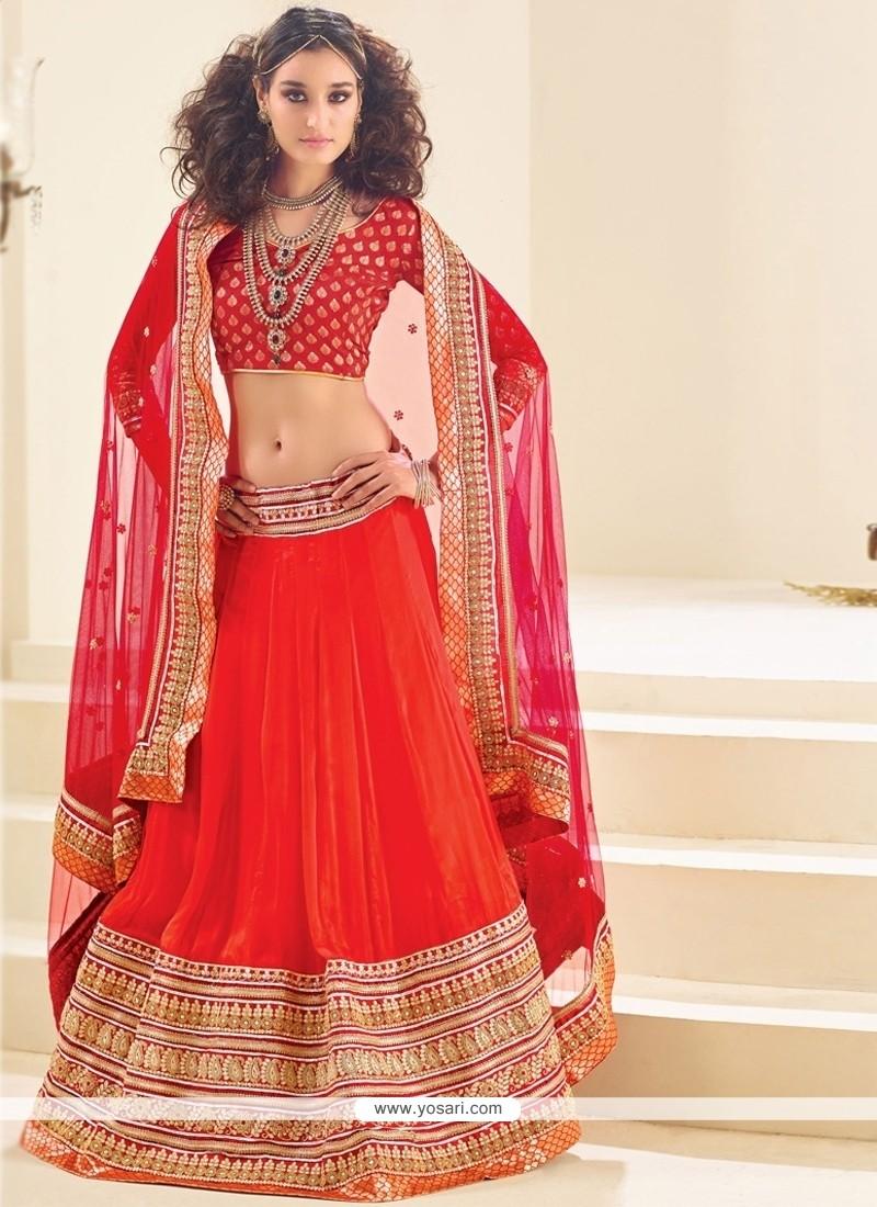 Pleasing Red A Line Lehenga Choli