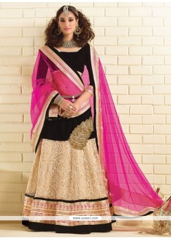 Captivating Velvet Patch Border Work A Line Lehenga Choli