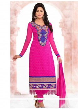 Captivating Pink Georgette Churidar Salwar Suit