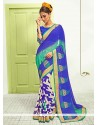 Magnificent Blue Georgette Designer Saree