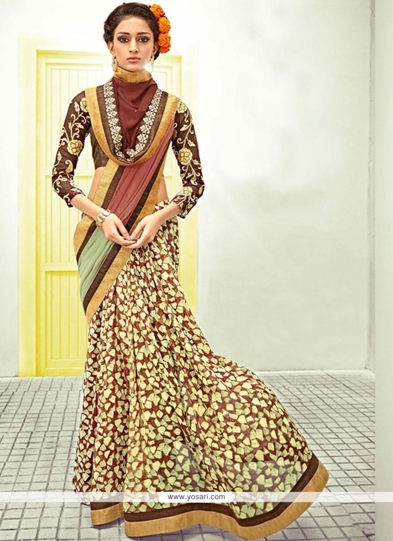 Observable Resham Work Georgette Designer Saree