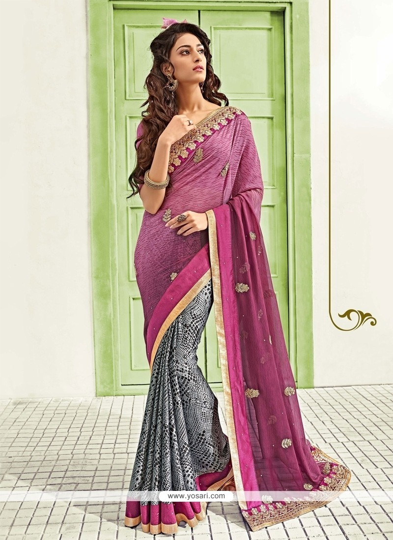 Extraordinary Grey And Purple Patch Border Work Designer Saree