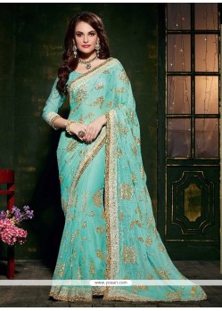 Versatile Turquoise Patch Border Work Designer Saree