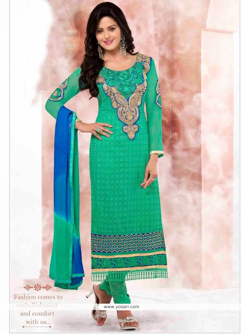 Blooming Green Georgette Churidar Salwar Suit
