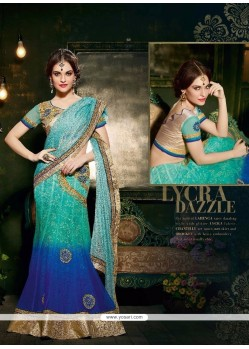 Pleasing Silk Turquoise Patch Border Work Designer Saree