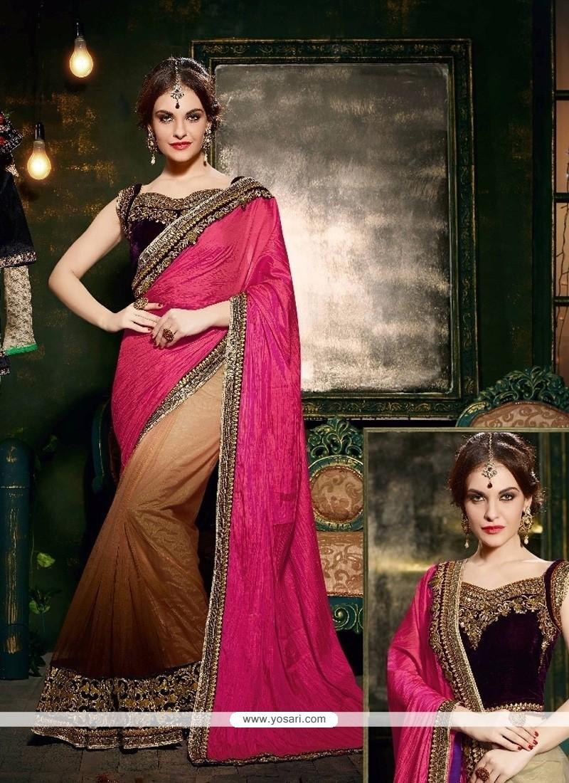 Delightsome Silk Pink Embroidered Work Designer Saree