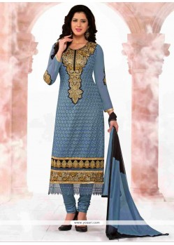 Angelic Grey Georgette Churidar Salwar Kameez