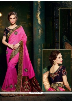 Hypnotizing Silk Hot Pink Designer Saree
