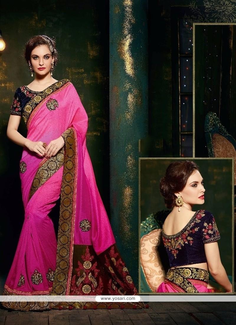 Hypnotizing Silk Hot Pink Designer Saree