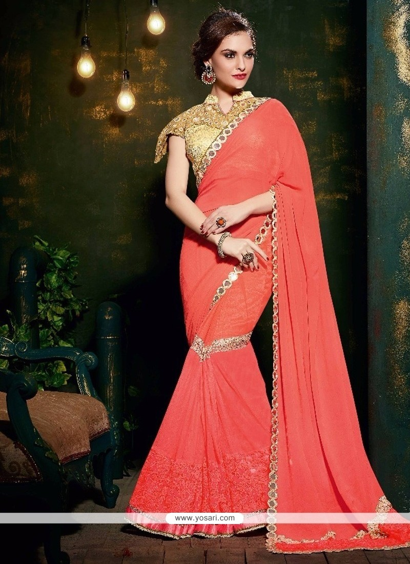 Aesthetic Georgette Peach Designer Saree