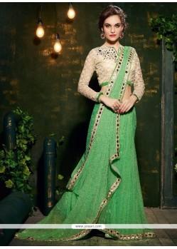 Pleasance Faux Chiffon Sea Green Designer Saree