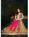 Blissful Cream And Pink Patch Border Work Net Designer Saree