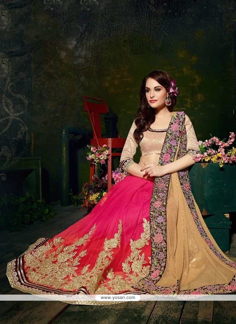 Blissful Cream And Pink Patch Border Work Net Designer Saree