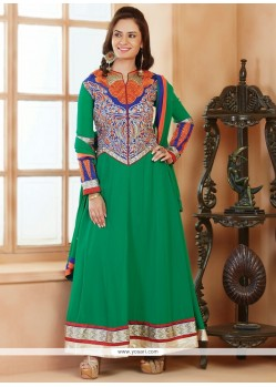 Extraordinary Green Georgette Anarkali Suit