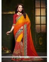 Magnificent Georgette Patch Border Work Designer Saree