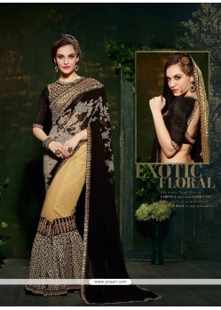Surpassing Georgette Patch Border Work Designer Saree