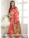 Vivid Banarasi Silk Lace Work Designer Saree