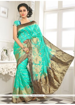 Lovely Sea Green Lace Work Banarasi Silk Designer Saree