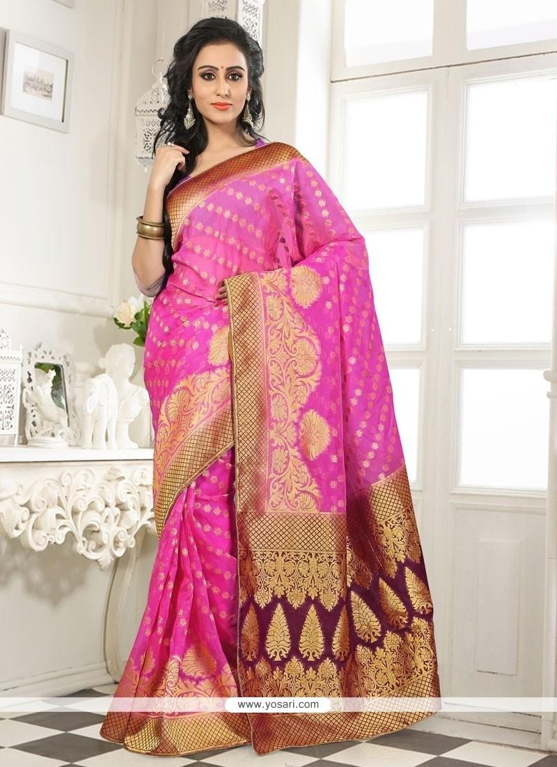 Delightful Pink Banarasi Silk Designer Saree