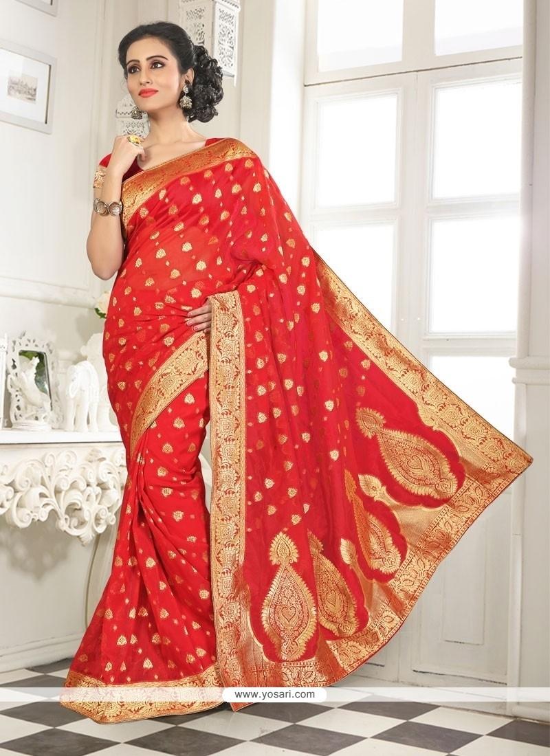 Grandiose Red Lace Work Banarasi Silk Designer Saree