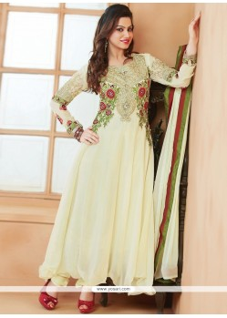 Exceptional Cream Georgette Anarkali Suit